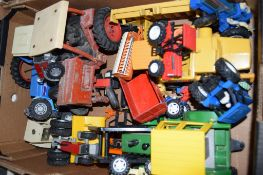 BOX CONTAINING TOY TRACTORS