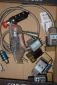 Box of inline valves and electronic timer valves