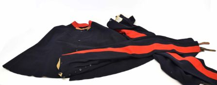 1938 dated mint Royal Horse Guards winter three-button cloak, navy blue with red collar attached,