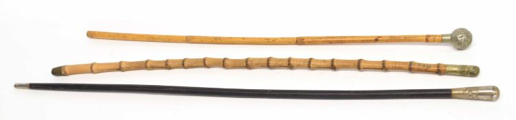 Three British military swagger sticks to include bamboo Royal Flying Corps stick, stamped No 41361