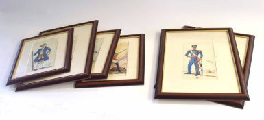 Quantity of six framed watercolours of British 18th and 19th century soldiers and officers to