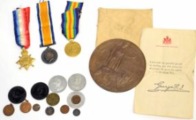Great War Casualty group of three medals comprising 1914-1915 Star, 1914-18 War Medal plus Victory