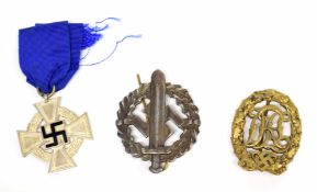 Three WWII Third Reich German awards to include Wehrmacht 25 year service medal, Sturm Abteilung (
