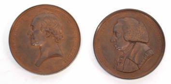 Pair of cased medallions to include bronze medal of William Cullen, designed by N MacPhail dated