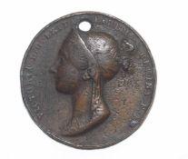 Victorian Coronation medal in bronze designed by Benedetto Pistrucci, head of Queen Victoria