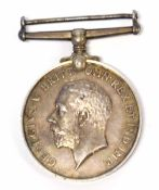 Great War George V medal impressed to 189898 Pte J Hopkins, Labour Corps, medal lacking ribbon