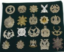 Quantity of 20 Scottish Glengarry cap badges to include Kings Own Scottish Borderers, Glasgow