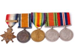 "WWI/WWII group of five comprising 1914 Star with ""Mons"" clasp together with British War Medal and"