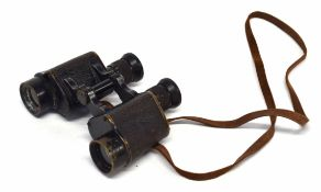 Pair of 20th century binoculars manufactured by Wray of London, with leather strap (a/f)