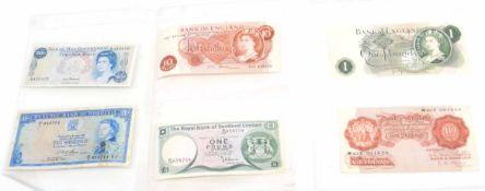 Bank of England bank notes comprising page £1 with error, no serial number, vgc, O'Brien 10/-,