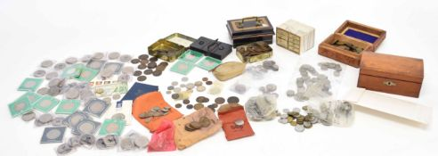 Mainly UK coins in various tins and cartons including quantity pre-1947 and pre-1920