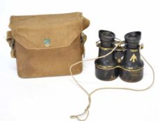 Pair of early 20th century military binoculars with War Dept/Govt issue stamp, manufactured by H & H