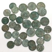 Quantity of 21 silver George V one shilling pieces, together with 11 silver George V one florins,