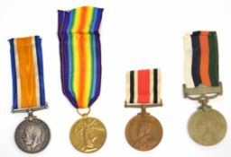 Group of four medals to multiple recipients to include a Great War Victory medal impressed to 7230