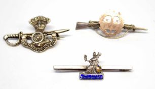 Small quantity of three silver WWI sweetheart brooches/tie pins to include Essex Regiment, Royal