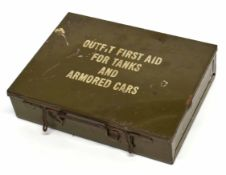 WWII outfit First Aid tin for tanks and armoured car, together with original contents of shell