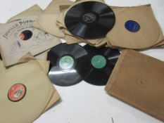 801a: Box of very early 78rpm records circa 1930s-1950s and earlier vinyl including rare small