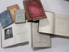 793b: Box of religion interest including MANTS BIBLE 1817 vol 1 + CRANMER'S FIRST LITANY, 1544...