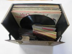"Box: assorted vinyl including 14 10"" and 20 7"" LPs, predominantly children's + 32 general DVDs,"