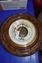 BAROMETER IN CARVED OAK FRAME, BY ALDRED & SON, GREAT YARMOUTH
