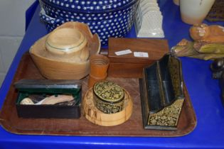 TRAY CONTAINING TREEN ITEMS, LETTER BOX, SMALL WOODEN BOX, ETC