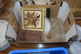 BOX CONTAINING GLASS CONDIMENTS, FRAMED TILE, POSSIBLY MINTON, ETC