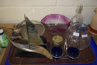 TRAY CONTAINING GLASS WARES, BOWLS, METAL ASHTRAY ETC