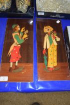 PAIR OF WOODEN MOUNTS WITH INLAY OF CLOWNS