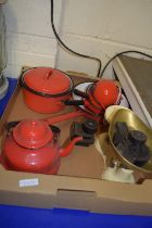 QUANTITY OF KITCHEN WARES, SAUCEPANS, KETTLE ETC AND SET OF WEIGHTS AND SCALES