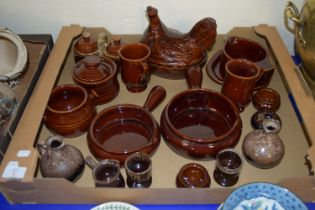 BOX CONTAINING BROWN GLAZED KITCHEN WARES FROM THE DENMEAD POTTERY INCLUDING BOWLS, CASSEROLE ETC