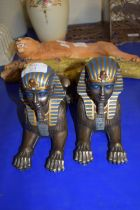 TWO MODELS OF EGYPTIAN SPHINX PLUS FURTHER MODEL OF A WILDCAT