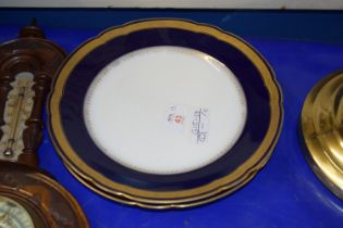 PAIR OF CONTINENTAL PORCELAIN PLATES WITH GILT RIMS