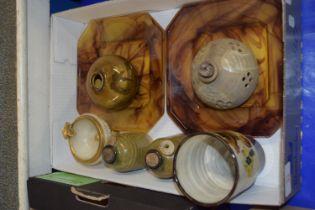STUDIO POTTERY WARES, TWO VASES, TWO SMALL JARS ETC