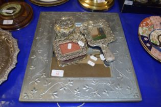 MIRROR IN WOODEN FRAME WITH SILVER COLOURED METAL DECORATION TOGETHER WITH A SILVER METAL MIRROR,