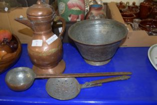 COPPER JUG, TWO FURTHER COPPER IMPLEMENTS AND AN ISLAMIC BOWL WITH CHASED COPPER DESIGN