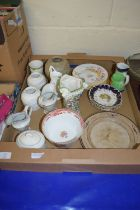 BOX CONTAINING CERAMIC ITEMS INCLUDING TWO NEWHALL TYPE HELMET JUGS ETC