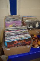 THREE BOXES OF LPS, MAINLY POP MUSIC INCLUDING QUEEN, ELVIS, DAVID BOWIE ETC