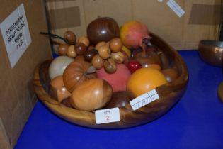 WOODEN FRUIT BOWL CONTAINING WOODEN CARVED FRUIT, APPLES, GRAPES ETC