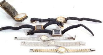 Collection of seven assorted ladies and gents wrist watches including a silver plated Rotary watch