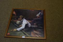 Framed print of a snooker player, width 68cm