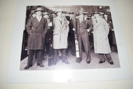 Poster of four championship snooker players, width approx 103cm