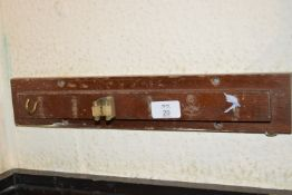 Wall mounted snooker cue rack, width approx 40cm