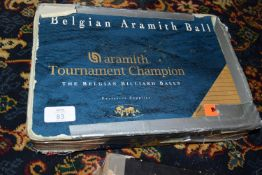 Set of Belgian Aramith snooker balls