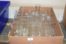 Box of mixed half pint glasses and shot glasses