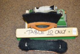 Snooker table iron, napping block and brush set