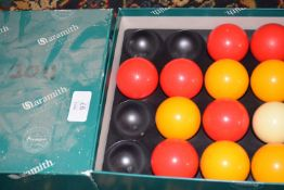 Part set of pool balls