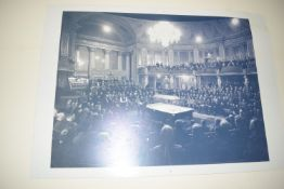 Large poster of a world championship snooker match, width approx 142cm