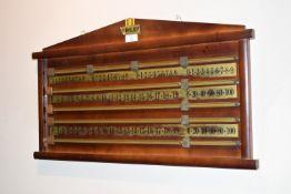 Riley snooker score board, width approx 70cm
