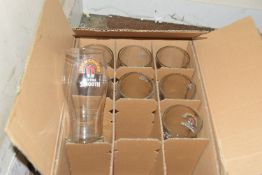 Box of 8 John Smith pint glasses