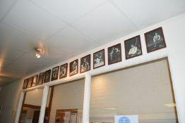 Thirteen framed prints of former world champion snooker players, width approx 21cm